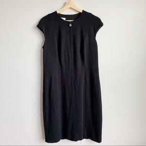 Akris Punto Black Sheath Dress Zip Up Large 12